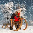Girl on a sleigh - Stock Photo