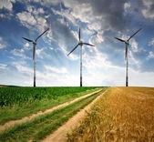 Camino de campo con las turbinas de viento — Foto de Stock