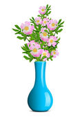 Dog rose in the blue vase — Stock Photo