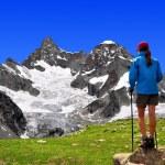 Girl looking at the Mount Gabelhorn — Stock Photo #18931077
