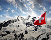 Monte Rosa with Swiss flag — Stock Photo