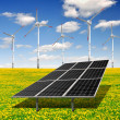 Solar energy panels and wind turbine — Stock Photo #19270161
