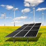 Solar energy panels and wind turbine — Stock Photo #19270161