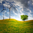 Spring landscape with wind turbine — Stock Photo #19270281