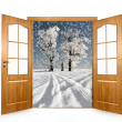 Open the door to the winter landscape — Stockfoto