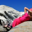 Girl in the Savoy Alps - Stock Photo