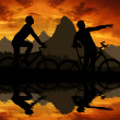 Stock Photo: Mountain cyclists