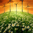 Blooming meadow with wind turbinens - Stock Photo