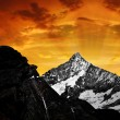 Girl looking at the Mount Weisshorn — Stock Photo