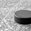 Black hockey puck - Stock Photo