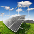 Solar energy panels with wind turbines — Stock Photo #20393819