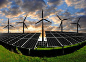 Solar panels with wind turbines — Foto Stock