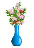 Dog rose with butterflies in the blue vase — Stock Photo