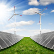 Solar energy panels with wind turbines — Stock Photo #21319123