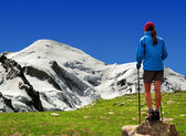 Girl looking at the Mont Blanc — Stock Photo