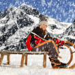 Girl on a sleigh — Stock Photo #21654345