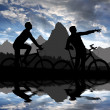 Stock Photo: Mountain bikers