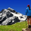 Girl looking at the Breithorn — Stock Photo