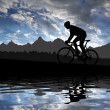 Silhouette of the cyclist — Stock Photo #22234929