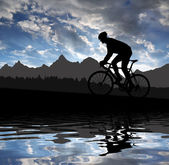 Silhouette of the cyclist — Stok fotoğraf