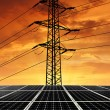 Solar energy panels with power line — Stock Photo
