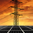 Solar energy panels with power line — Stock Photo #22613631