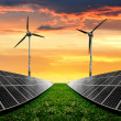 Solar energy panels with wind turbines — Stock Photo #22940576