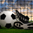 Royalty-Free Stock Photo: Soccer ball and shoes