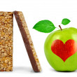 Chocolate Muesli Bars with apple - Stock Photo
