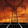 Solar energy panels with power line — Stock Photo #23704593