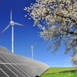 Solar panels and wind turbines - Stock Photo