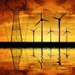 Wind turbines with power line — Stock Photo