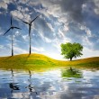 Stock Photo: Spring landscape with wind turbine