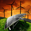 Solar energy panels with wind turbines — Stock Photo #24686337