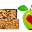 Chocolate Muesli Bars with apple — Stock Photo