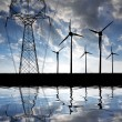 Wind turbines with power line - Stock Photo