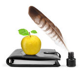 Feather in ink bottle — Stock Photo