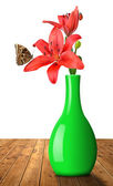 Lily with butterfly Morpho — Stock Photo