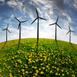 Meadow with wind turbines — Stock Photo