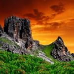 Dolomite peaks, Rosengarten,Val di Fassa, Italy — Stock Photo