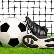 Soccer ball and shoes in grass — Stock Photo #28032845
