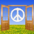 Open door in the background peace symbol from clouds — Stock Photo
