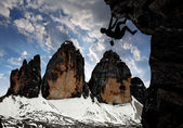 Climbers in the Dolomite Alps,Tre cime di Lavaredo, Italy — Stock Photo