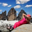 Girl in Italy Alps — Stock Photo