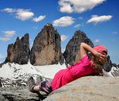 Girl in Italy Alps — Stock Photo