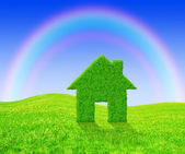 Green grass house symbol — Stock Photo
