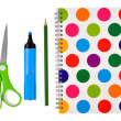 Notepad,pencil,felt-tip and scissors — Stock Photo