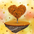 Autumnal tree in the shape heart — Stock Photo