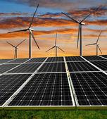 Solar energy panels and wind turbines — Stock Photo