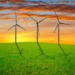Spring meadow with wind turbines — Stock Photo